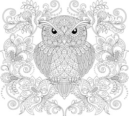 Owl and floral ornament. Adult antistress coloring page. Black and white hand drawn doodle for coloring book
