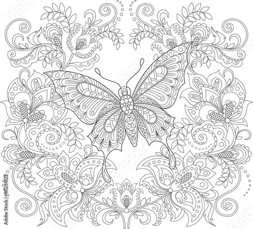 Butterfly And Floral Ornament Adult Antistress Coloring Page Black White Hand Drawn Doodle