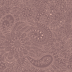 Abstract hand drawn seamless pattern for your design. Ornamental abstract flowers on a brown background. Eps10 vector illustration.