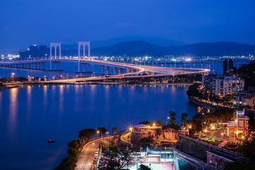 Bridge in Macau view at night..