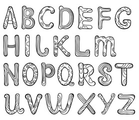 English alphabet letters in patterns on a white background