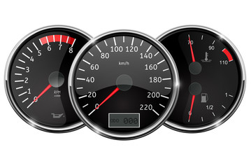 Car dashboard. Still position. Speedometer, tachometer, fuel gauge