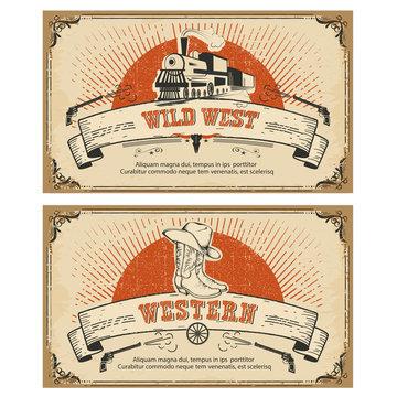 Vintage frame western cards.Vector illustration