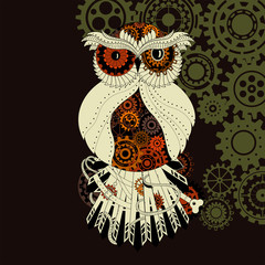 Steampunk owl with gear