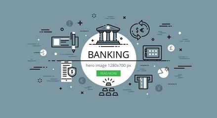 Banking. Flat thin line vector hero banner