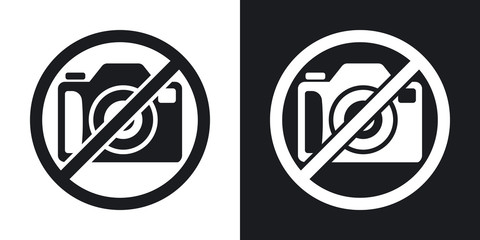 No photography sign, vector. Two-tone version on black and white