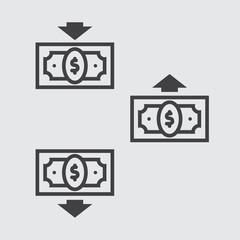 Money transfer icon, dollar cash