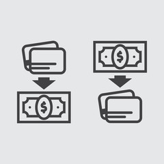 Money transfer icon, transfer to card