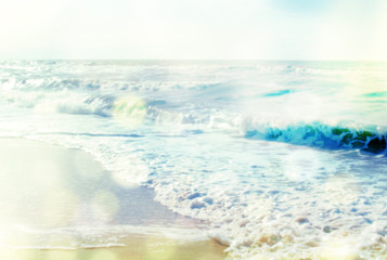 Sea background with waves and effect sun glare