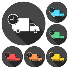 Truck with clock, fast delivery icons set with long shadow