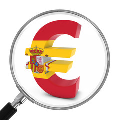 Spain Finance Concept - Spanish Euro Symbol Under Magnifying Glass - 3D Illustration