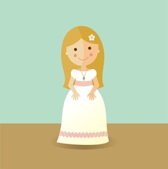 First Communion girl with blond hair