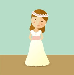 First Communion girl with brown hair
