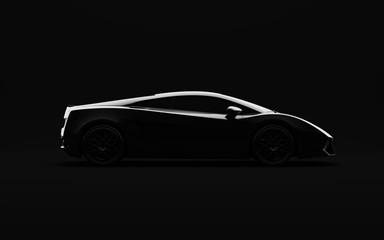 Black luxury sports car on dark background. 3D Illustration side view.