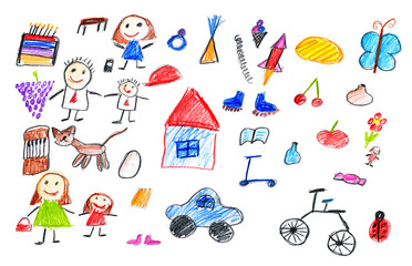cartoon people and funny toy collection, children drawing object on paper, hand drawn art picture
