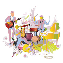 Abstract musical background with musicians. Saxophonist, guitarist, drummer.
