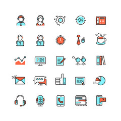 Customer service, call center vector flat icons. Support help line icon, customer help service, support communication assistance, support telephone illustration