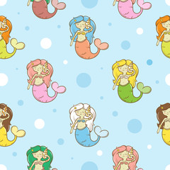 Seamless  pattern with cute cartoon mermaids on  blue background. Underwater life. Children's illustration. Vector image.