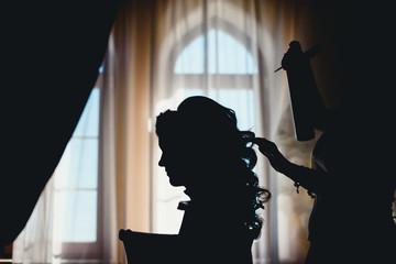 happy bride prepares for wedding ceremony