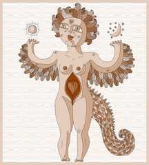 Vector lined illustration of weird creature, nude woman with wings