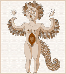 Vector illustration of weird creature, nude woman with wings