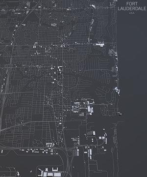 Mappa di Fort Lauderdale, vista satellitare, Florida, Stati Uniti