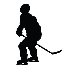 Ice hockey player vector silhouette. Hockey player skating witho