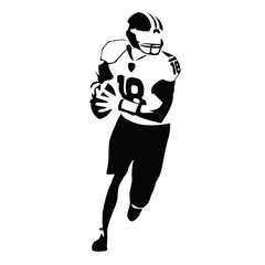 American football player vector illustration. Running isolated f