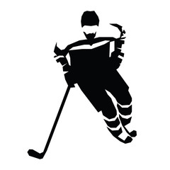 Ice hockey flat vector illustration. Hockey player silhouette