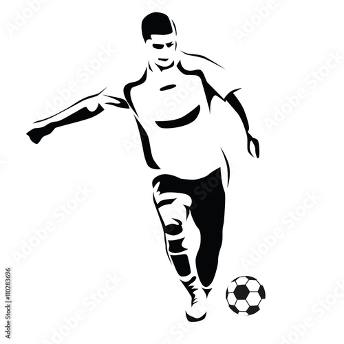 Soccer Player Vector Silhouette Running Football Player Kick T