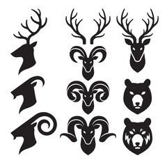 Animal Horn and Head Icons Set. Goat, Deer and Bear. Vector Illustration.