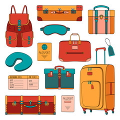Travel set of passenger accessories, luggage and equipment