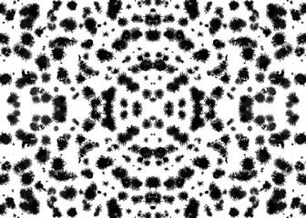 Seamless ethnic kaleidoscope pattern. Beautiful spots of dalmatian dog or cow. Watercolor geometric animal print on white background.
