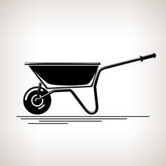 Wheelbarrow, Silhouette a Wheelbarrow on a Light  Background, Agricultural Tool Wheelbarrow , Garden and Carpentery  Equipment, Black and White Vector Illustration