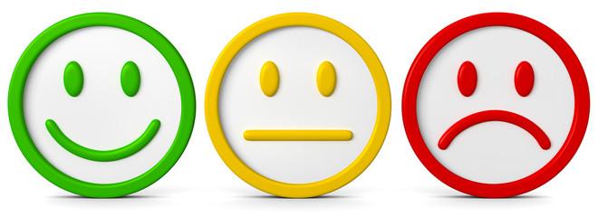 Die drei Smileys mit verschiedenen Emotionsausdrücken..Ein Gefühl kann positiv, negativ oder neutral sein.