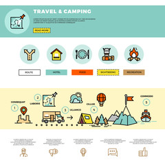 Camping, traveling, tourism vector infographic. Website design template. Tourism travel website, website travel and camping, infographic trabel web illustration