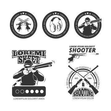 Vintage gun, pistol club vector labels, emblems, badges, logos. Shooting gun, shooting pistol emblem, shooting sport illustration