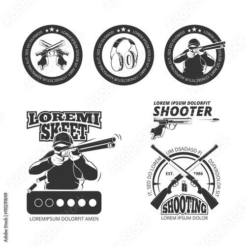quotvintage gun pistol club vector labels emblems badges