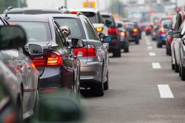 Cars on road highway in traffic jam Fotomurales