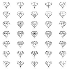 Diamonds Icons set, design element, symbol of the success of wealth and fame.