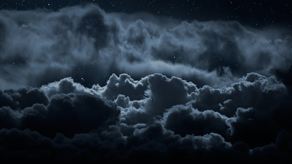 Fotorolgordijn Nacht Above the clouds at night