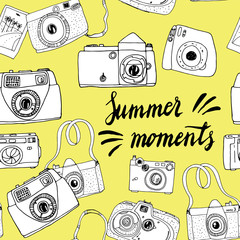 Cute hand drawn old and new cameras. Seamless vector pattern. Best summer memories.