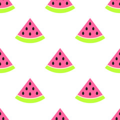 Watermelon slices seamless pink pattern on white. Juicy summer fruit pattern.