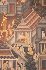 ancient paintings on the window in wat pho bangkok, thailand-january 28 : ancient paintings on the window in wat pho bangkok, thailand-january 28, 2015
