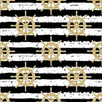 Seamless hand drawn striped pattern with helms for adventure. Sea gold glitter motif,  for wrapping, wallpaper, fabric, textile