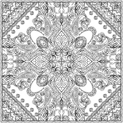 Monochrome Paisley pattern on white background. Oriental ornament for wrapping, wallpaper, fabric, textile, coloring page, book