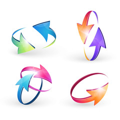 Illustration with a set volume of cursors, icons,computer mouse, vector arrows, performed in a spherical design. Tool , element design .