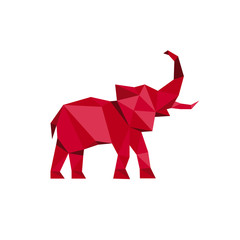 Red Elephant standing with trunk up Polygon style Animal Design Vector illustrations Low Poly Modern logo