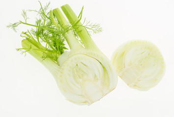 Fresh fennel cut in two, isolated on white background