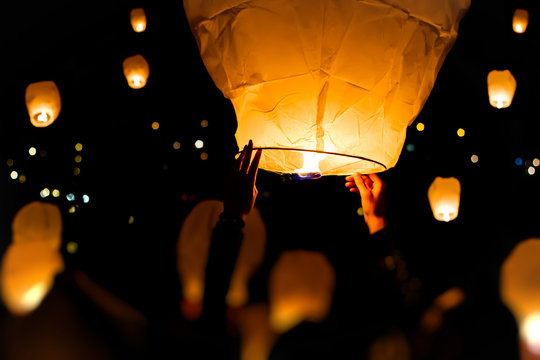 Make A Wish, A chinese lantern with lots more in the background